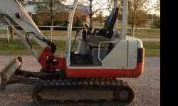 """Overview: Make: Takeuchi Model: TB135 Year: 2004 Hours: 2,400 Max Dig Depth: 11' 2"""" Net HP: 28 Hp Operating Weight: 7,583 lbs Transport Dimensions: 192"""" L x 64"""" W x 96' H Features: Canopy Auxiliary Hy"""