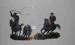 Team Roping wall art. . Perfect for Den, Man Cave, Bar, Garage, Poll Barn, Sale Barn, Rodeo Arena, 4H . Laser cut steel. . 970-215-2580 Location: Fort Collins