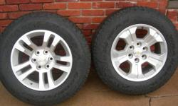 """New Factory Take Off ---wheels/tires for Chevy Silverado-P/U's, Tahoe, Suburban, Avalanche ---2014 removed when installing 6"""" lifts and custom wheels/tires ---with Goodyear Wrangler SR-A tires ---less"""