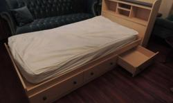 TWIN BED with 3 underdrawers & & matching entertainment closet with 2 drawers. Lighting lumber tone with blue accents. $90.  For sale: Naval force sheet established $5, red personalized fitted sheets