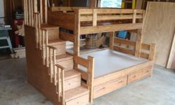 Solid wood bunk beds, made to order in any stain color. Beds are stackable so they can be two separate bed frames when you need them. Beds are built locally and are made to last so they won't end up i