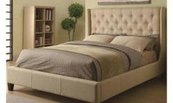 Create a centerpiece in your bedroom with this stunning upholstered bed.  Featuring a beautiful tan upholstery, it has a grandly-scaled headboard that is decorated with classy button tufting to add vi