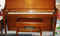 Beautiful wood Cable Player Piano with storage bench and about 100 music rolls for sale. Many items included; primer pump for bellows,original instruction booklet, beginner to advanced music instructi