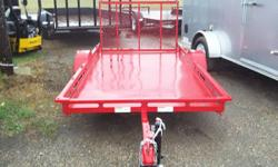 """USED 5X10 Finish Line Golf Cart Trailer. 10"""" Tires with Aluminum Wheels, POWDER COAT paint (Red), Steel Deck, full LED lights, 1500 lb GVWR, 40"""" Standard gate (gate will fold down in bed when you are"""
