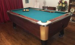 This is a pool table comes with the balls and the rack. It is in excellent condition. It has a 1 inch slate top. This ad was posted with the eBay Classifieds mobile app.