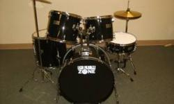"""Slightly used Drum Zone DK7500 7-piece set. 7 piece w/ hardware & cymbals! Includes: throne, 12"""" & 13"""" tom, 16"""" floor tom, matching 14"""" wood snares, and 22"""" bass drum. Everything is all there, only th"""