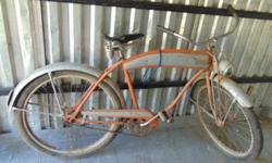 """This bicycle was """"the finest in the Hawthorne line"""" in 1952 and was the first year that featured the turn signal switch on the cross bar. In previous years it was mounted on the handlebars. The carrie"""
