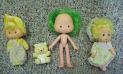 I have an adorable group of classic Strawberry Shortcake Dolls, generated by Kenner in the late 1970's and very early 1980's. I have a comprehensive Butter Cookie and Jelly Bear, a naked Lime Chiffon,