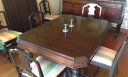 """I have an Vintage 1920's Mahogany Dining Table 45""""X 60"""" with 3 leafs each 12"""" broad. It has 6 chairs (1 which is a captains chair). The underside slide is marked (Perfection Table Slide Mfg Company 19"""