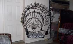 Victorian Hanging Peacock Chairs -- Vintage Wrought Iron is really expensive right now...take a look on sites for comparable items. Purchased almost 12 years ago at $350 each Beautiful vintage hanging
