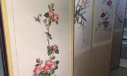 "Vintage Oriental Silk Embroidered Floral Screen - 6 Panels Panels 17"" Wide x 67"" High x 6 = 102"" when fully opened Floral with Dragonflies and Birds Purchased in Korea $349 or Best Offer Call or text"