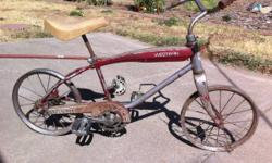 Unusual adjustable top bar for Girls or kids 16 inch 1950's western leaflet. All american initial classic. Required tires and bearings for the initial cranks. The seat was just put on the bike for an