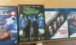 Have the following DVDs and Blu Rays for sale all in mint condition: Wall-E dvd $9.00 The Green Hornet dvd $5.00 Brooklyns Finest Blu Ray $6.00 The Town Blu Ray $6.00 Email if interested thanks!!