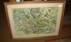 We are offering a wonderfully done water by a regional Bucks County PA artist: D. K. Nelke. It is signed D. K. Nelke on the front. Our team believe it is from the 1920's -1930's. This one is of a plan