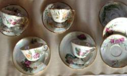 "Mixed Lot of Tea Cups & Sauces most of the tea cups & saucers are ""Waterlily Months"" Items are over 70 years old Store in China Hutch, never used, need cleaning They are blend well together, can mix m"