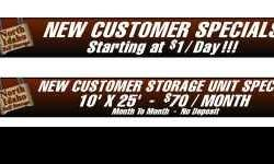 RENT A STORAGE UNIT STARTING AT AS LITTLE AS $1/DAY ! NO LONG TERM CONTRACTS REQUIRED....NO GIMMICKS.....NO SECURITY DEPOSIT....NO OFFICE SET UP FEES.........DON'T BE A VICTIM OF THOSE FACILITIES WHO JUST RAISE YOUR RENT AFTER YOU'VE MOVED IN! STATE OF