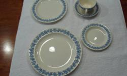 Antique England Wedgewood of Eturia & Barlaston, Embossed Queensware. Service for 8, Five piece setting, missing one cup, 2 additional butter dishes, no chips, extremely old set, overall 41 pieces, st
