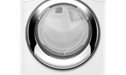 """Whirlpool Duet Steam WGD86HEBW 27"""" Gas Steam Dryer with 7.4 cu. ft. Capacity, 9 Wash Cycles, 5 Temperature Settings, Eco Monitor, Wrinkle Shield Option and Sensor Drying: White Unit is a discontinued"""