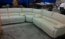 Hello, we have a variety of sofa sectionals in stock in various styles, colors, and price ranges. This genuine white leather sofa sectional features 4 motorized recliners! Retails at Macy's for $4899!