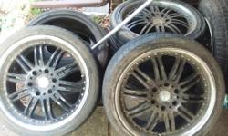WILL NEGOTIATE Tires and matte black rims 6 lugs Taking up space and collecting dust Tires in good condition. still on rims I've dropped the price. Ill clean, wax and shine them. They're very dirty. I