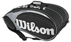 Brand name brand-new from the box brand-new tags WILSON Tour 15 Pack Tennis Bag Black/Silver. It can include approximately 15 rackets without any covers. Used by college athletes and the experts. Due