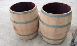 I presently have readily available plenty of wine barrels with the bases and tops removed.  These barrels still have the abundant scent of wine soaked oak and have many usages.  Wastebasket holder. ta
