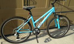 "I am offering a Women's Trek 3700 Mountain Bike. This bike is size 16"" Frame and 21 speed. Color is Light Blue. Has a suspension front fork. Features water bottle holder. This bike was my other half's"