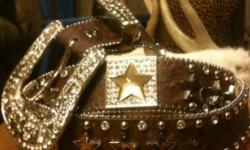 Women's western Bling Bling Cowgirl Belt! Size XL, brown colored star stones Shiny and cool! $35.00. Call or text anytime 417-540-0915 // //]]> Location: Lamar, Mo