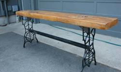 Wood Slab TABLE with antique iron base. Bought this incredible table for a home and it didn't fit. We were informed the piece came ashore on Lake Michigan near Northport long ago and it was cutom made