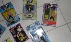 WWF Figurines in box never opened. Part of collection over 15 years, I have others not listed here. All on list $ 8.00 ea. * Savio Vega * Taka * HHH * Sgt. Slaughter * Dude Love * Bend-Ems Series VIII