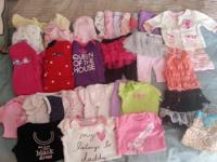 0-3 month child girl clothing. 11 onesies, 8 sleepers,