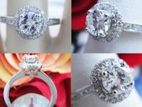 0.80CT Round Brilliant Pave Halo Diamond Engagement