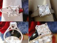 0.93CT Asscher Diamond Engagement Ring Certified and