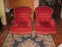 Two Victorian style upholstered chairs with carved wood