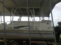 Pontoon boat with hard top portable shower and potty