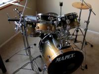 5 Piece Mapex Saturn Pro Complete Drum Set - LIKE NEW