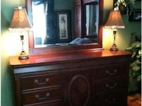 4 Piece queen bedroom set in great condition- dark wood