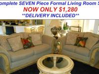 Here is a Stunning Seven Piece Formal Living Room Set.