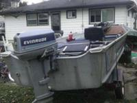 1986 16 1/two feet. Alumacraft boat and trailer for