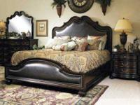 Rich golden brown with upholstered headboard and foot