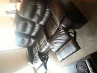Pleather CouchPleather Recliner2 wooden end tables2