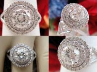 1.54CT Round Halo Pave Diamond Engagement Ring