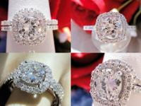 1.58CT Round Diamond Pave Halo Engagement Ring/Band
