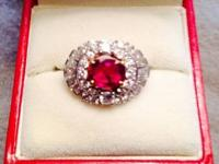 Gorgious one owner real 1.65 carat ruby and diamond