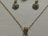 1/7 Ct Diamond Heart Pendant and Earrings Box Set in 10