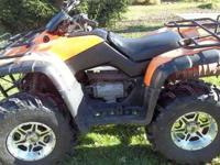this quad has been lifted,has brand new 27in tires on