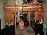 One Loft Bed with lower bunk. It is a beautiful solid