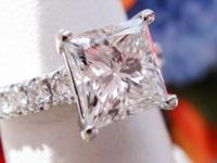 1.88CT Princess Diamond Platinum Engagement Ring
