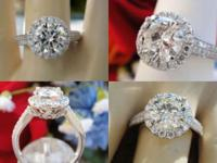 1.92 CT Round Brilliant Halo Pave Diamond Engagement