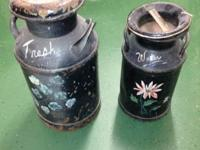Up for sale is 2 Antique Cream Canister Milk Cans. 1 is